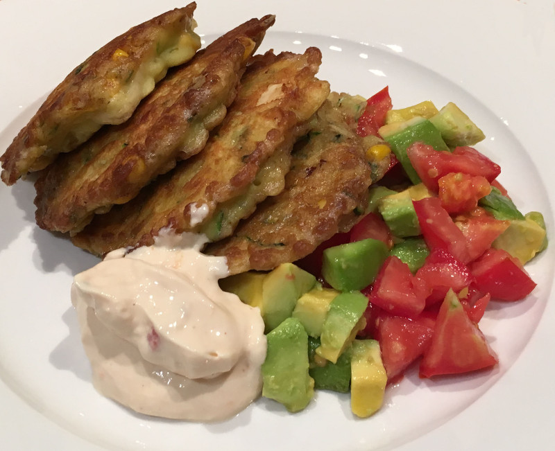 Corn, Zucchini and Haloumi Fritters